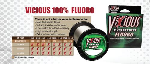 VICIOUS CLEAR 100%FLOUROCARBON FISHING LINE