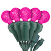 "Pink G12 ""Raspberry"" LED Lights - Commercial Grade - 25 Light Count - Green Wire"