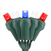 Red, Pure White, & Blue Patriotic 5mm LED Light - Conical - Premium Grade - 70 Light Count - Green Wire