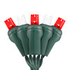 Red & Purre White 5mm LED Light - Conical - Premium Grade - 50 Light Count - Green Wire