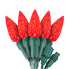 "Red C6 ""Strawberry"" LED Lights - Commercial Grade - 25 Light Count - Green Wire"
