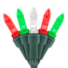 "Red, Green, & Warm White Traditional M5 ""Mini Ice"" LED Lights - Premium Grade - 70 Light Count - Green Wire"