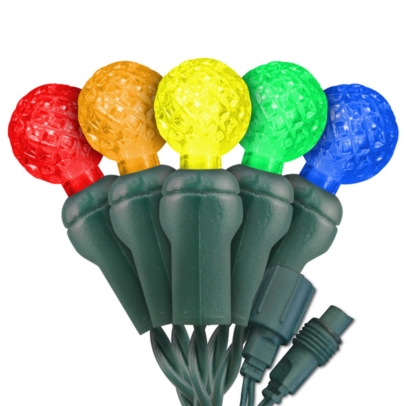"5-Multi Color G12 ""Raspberry"" LED Lights - Commercial Grade - 25 Light Count - Green Wire"