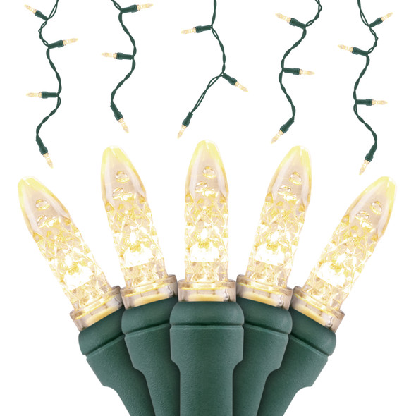 Warm Whtie M5 SERIES LED Icicle Lights - Premium Grade - 70 Light Count - Green Wire
