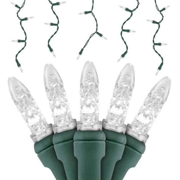 Pure White M5 SERIES LED Icicle Lights - Premium Grade - 70 Light Count - Green Wire