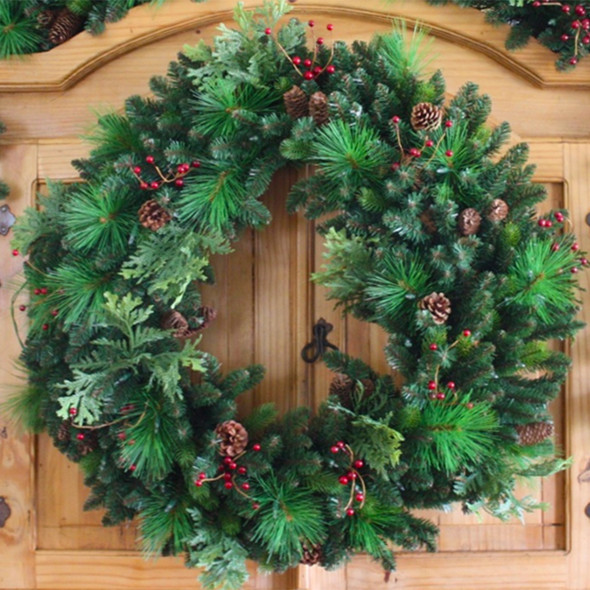 "24"" Pre-Lit Woodland Blend Wreath"