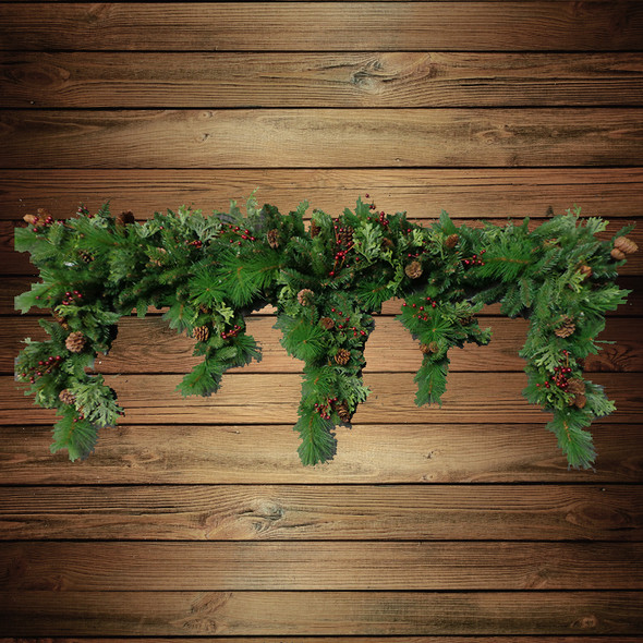 Pre-Lit LED Woodland Blend Cascading Garland