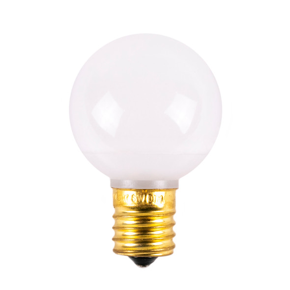 Unlit Warm White Frosted Opaque Non-Dimmable G40 LED Retrofit Bulbs - C9 Base