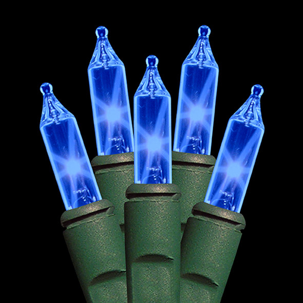 Blue Incandescent Christmas Tree Mini Lights - Premium Grade - 50L - Green Wire - SALE ITEM