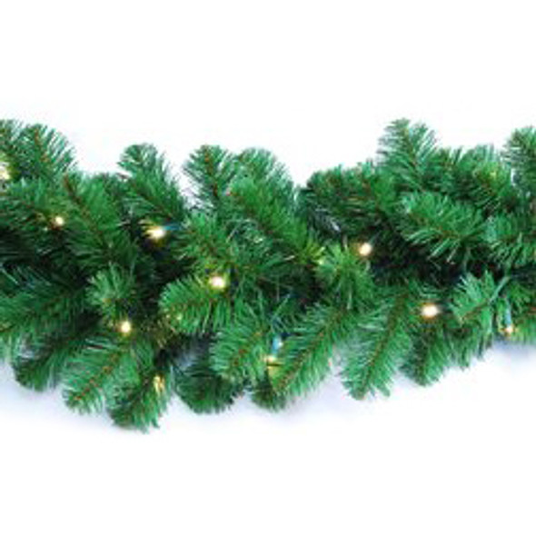 """LED Garland - 9' (length) x 14"""" (wide) - 280 Tips & 100 5MM Warm White Light Count"""