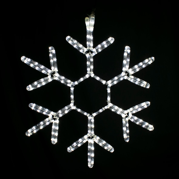 "Cool White 24"" LED Rope Light Snowflakes"