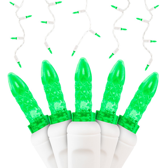 Green M5 SERIES LED Icicle Lights - Premium Grade - 70 Light Count