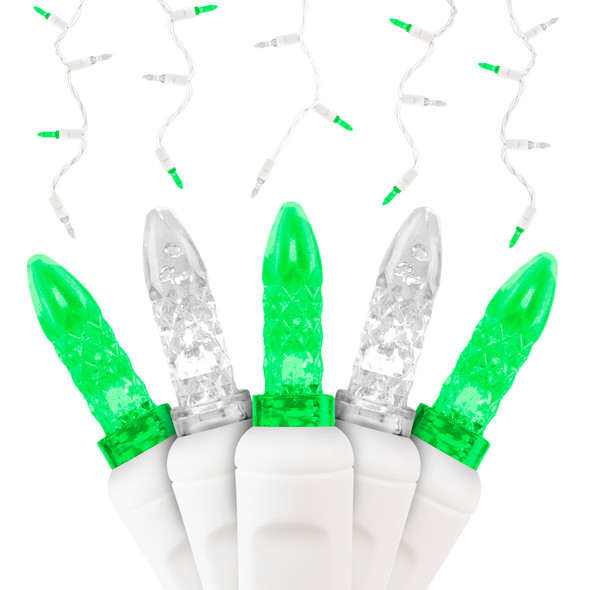 Pure White & Green M5 SERIES LED Icicle Lights - Premium Grade - 70 Light Count
