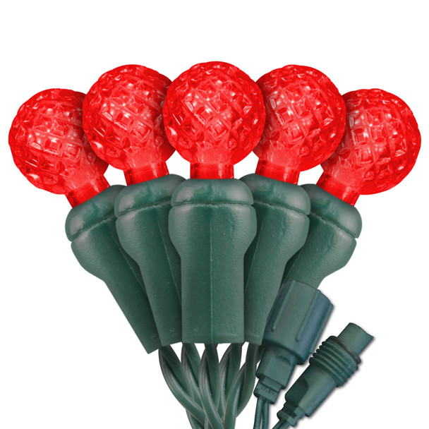 """Red G12 """"Raspberry"""" LED Lights - Commercial Grade - 25 Light Count - Green Wire"""