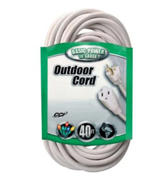 Extension Cord - 40' Length - White - SALE ITEM