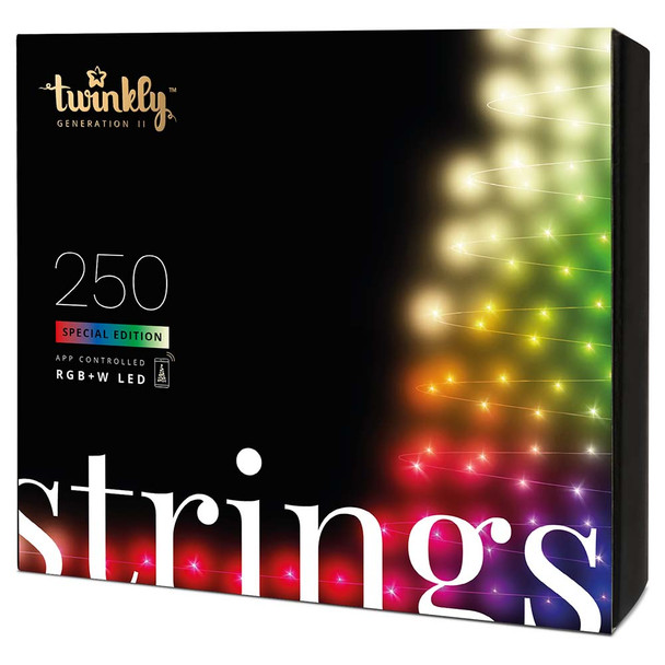5MM Twinkly RBGW Conical String Light - 250 Light Count - Green Wire