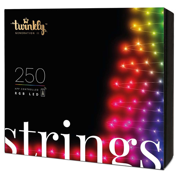4.3MM Twinkly RGB Conical String Light - 250 Light Count - Green Wire