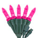 """Pink M5 """"Mini Ice"""" LED Lights - Commercial Grade - 25 Light Count - Green Wire"""