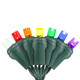 7-Multi Color 5mm LED Light - Conical - Premium Grade - 50 Light Count - Green Wire