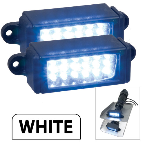 Perko Surface Mount Trim Tab Underwater Lights - Pair - White