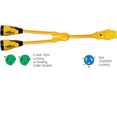 "Marinco Y504-2-503 EEL (2)50A-125V Female to (1)50A-125/250V Male ""Y"" Adapter - Yellow"
