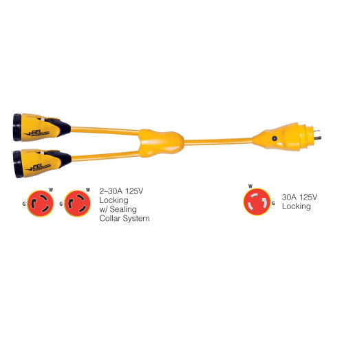 "Marinco Y30-2-30 EEL (2)30A-125V Female to (1)30A-125V Male ""Y"" Adapter - Yellow"