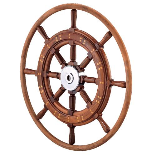 """Edson 30"""" Teak Yacht Wheel w/Teak Rim & Chrome Hub"""