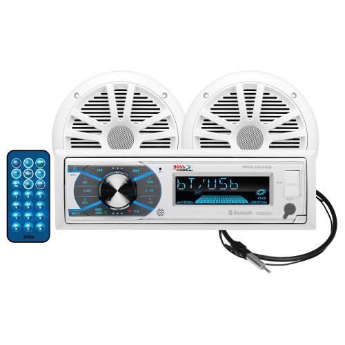 "Boss Audio MCK632WB.6 Package w/MR632UAB AM/FM CD Receiver; Pair of 6.5"" MR6W Speakers & MRANT10 Antenna"