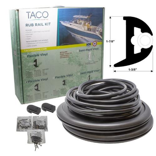 """TACO Flex Vinyl Rub Rail Kit - Black w/White Insert - 70' - 1-7/8"""" x 1-3/8"""""""