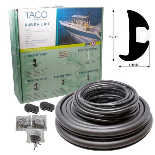 """TACO Flex Vinyl Rub Rail Kit - Black w/Black Insert - 50' - 1-7/8"""" x 1-1/16"""""""