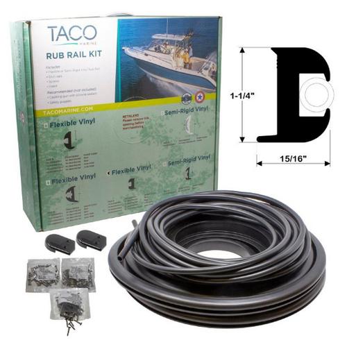 """TACO Flex Vinyl Rub Rail Kit - Black w/Black Insert - 70' - 1-1/4"""" x 15/16"""""""