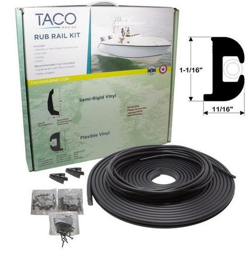 "TACO Flex Vinyl Rub Rail Kit - Black w/Black Insert - 50' - 1-1/16"""
