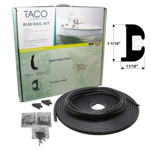 """TACO Flex Vinyl Rub Rail Kit - Black w/White Insert - 50' - 1-1/16"""" x 11/16"""""""