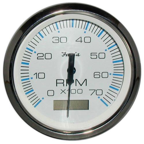"Faria Chesapeake White SS 4"" Tachometer w/Hourmeter - 7,000 RPM (Gas - Outboard)"