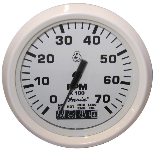 "Faria Dress White 4"" Tachometer w/Systemcheck Indicator - 7,000 RPM (Gas - Johnson / Evinrude Outboard)"