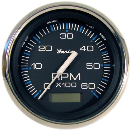 "Faria Chesapeake Black SS 4"" Tachometer w/Hourmeter - 6,000 RPM (Gas - Inboard)"