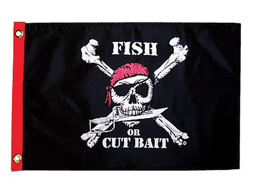 Taylor Made Products 1806, Pirate Heads Boat Flag, 12 inch x 18 inch, Fish or Cut Bait