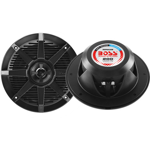 """Boss Audio MR62B 6.5"""" 2-Way 200W Marine Full Range Speaker - Black - Pair"""