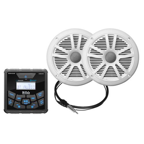 "Boss Audio MCKGB450W.6 Marine Package - Bluetooth®(Audio Streaming) In-Dash Marine Gauge Digital Media AM/FM Receiver w/6.5"" Speakers - White"