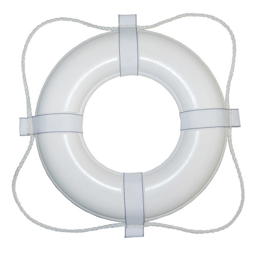 "Taylor Made Foam Ring Buoy - White w/White Rope (Available Sizes 24',30"" & 20"")"