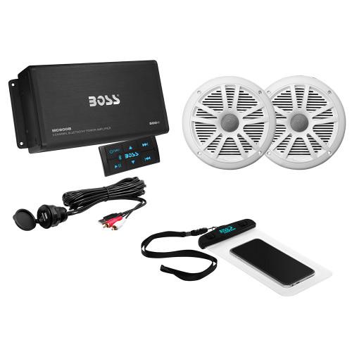 """BOSS AUDIO ASK902B.6 PACKAGE W/4-CHANNEL BLUETOOTH AMPLIFIER W/REMOTE, 2 MR6W 6.5"""" WHITE SPEAKERS, USB/AUX INPUT & WATERPROOF CASE"""