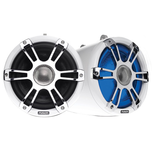 """FUSION SG-FT88SPW 8.8"""" WAKE TOWER SPORTS SPEAKERS W/ LED LIGHTS - WHITE & CHROME"""