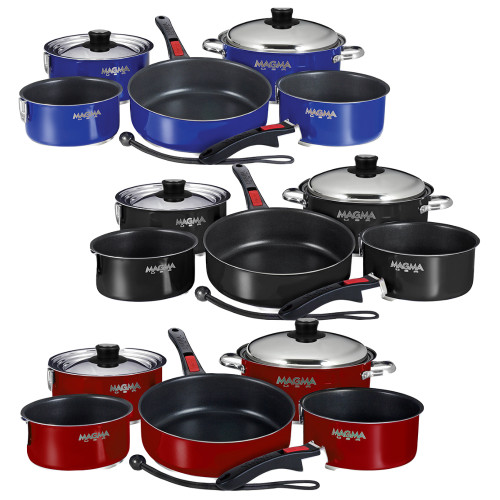 MAGMA NESTING 10-PIECE INDUCTION COMPATIBLE COOKWARE & SLATE BLACK CERAMIC NON-STICK INTERIOR (Available Colors: Cobalt Blue,Magma Red & Jet Black)