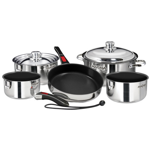 MAGMA NESTING 10-PIECE COOKWARE - STAINLESS STEEL EXTERIOR & SLATE BLACK CERAMICA NON-STICK INTERIOR