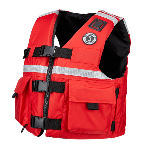 MUSTANG SAR VEST WITH SOLAS REFLECTIVE TAPE - RED (Available Sizes: XXX-Large, XX Large,X-Large, Large,Med &  Small)