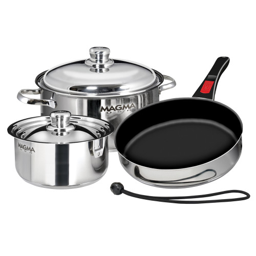 Magma Nesting 7-Piece Induction Compatible Cookware - Stainless Steel Exterior & Slate Black Ceramica Non-Stick Interior