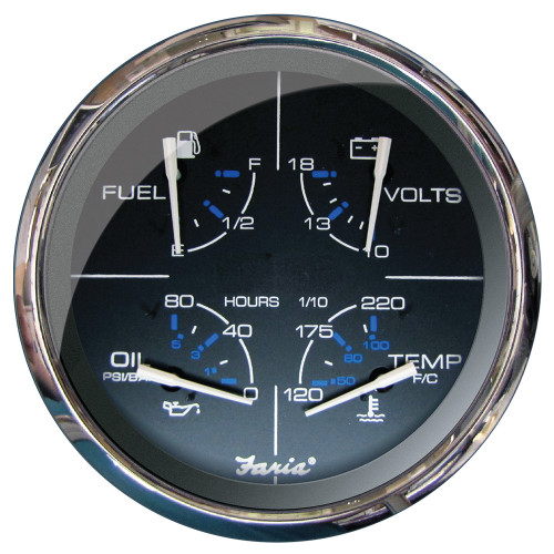 "FARIA 5"" MULTIFUNCTION GAUGE CHESAPEAKE BLACK W/STAINLESS STEEL - FUEL, OIL (PSI), WATER TEMP & VOLTMETER"