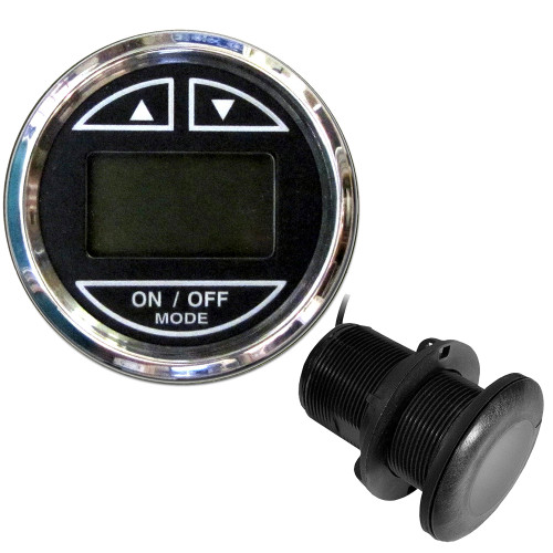 "FARIA 2"" DEPTH SOUNDER W/THRU-HULL TRANSDUCER - CHESAPEAKE BLACK - STAINLESS STEEL BEZEL"