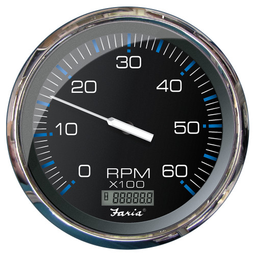 "FARIA 5"" TACHOMETER W/DIGITAL HOURMETER (6000 RPM) (GAS) (INBOARD) CHESAPEAKE BLACK W/STAINLESS STEEL"