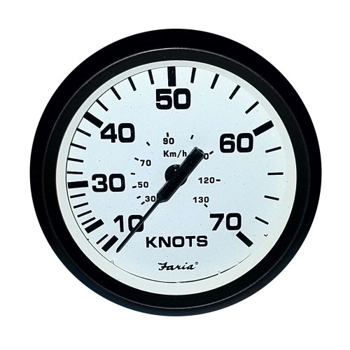 "FARIA 4"" SPEEDOMETER (70 KNOT) MECHANICAL EURO WHITE"